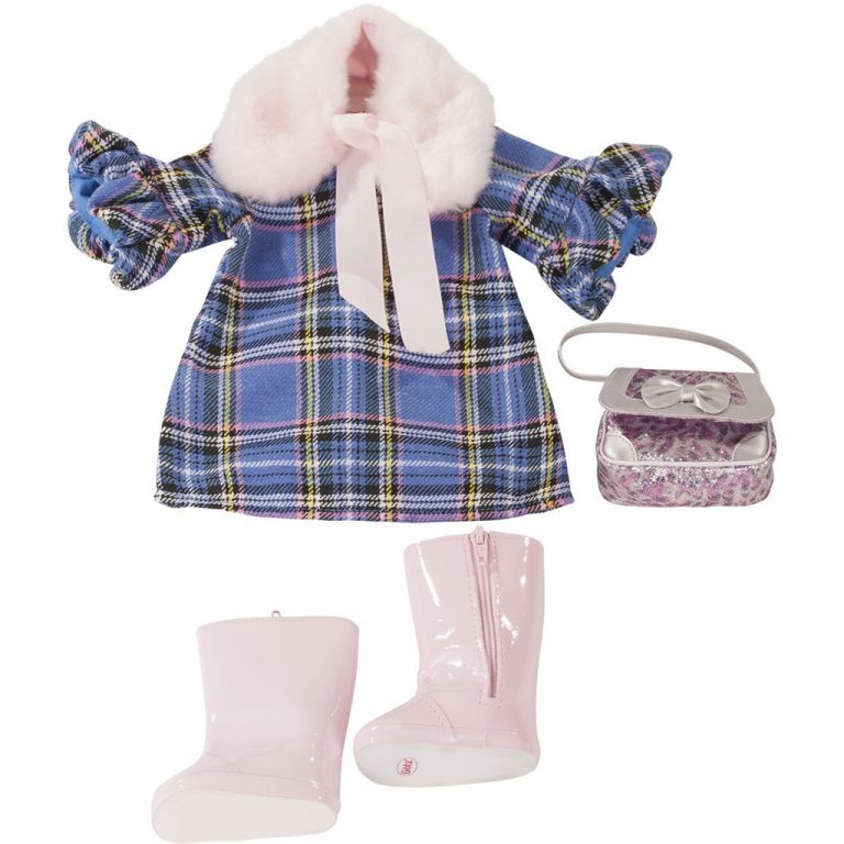 Gotz blue check dress set 36cm
