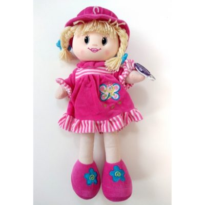 cuddles time ragdoll bright pink with hat