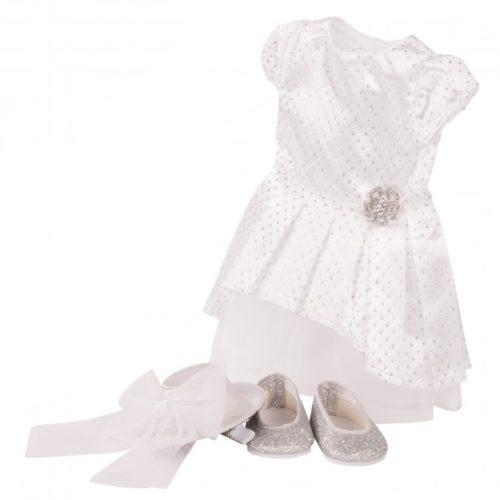 Gotz sparkly white satin dress
